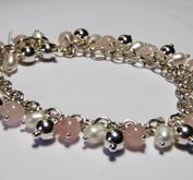 Armband rosenkvarts och pärlor